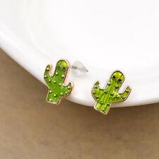 1 Pair Enamel Cactus Earrings Cute Ear Studs Women Party Jewellery Accessories