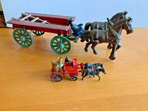Antique cast iron horse & Lledo Day Chicago Fire Brigade - Shand Mason Horse