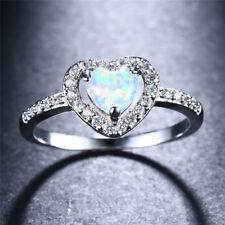 925 Silver Heart Cut White/Blue Fire Opal Zirconia Rings Womens Wedding Jewelry