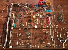 HUGE VTG 160+ Jewelry Lot Earrings Watch Keys Dice Brooch Pins Necklaces & More!