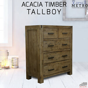 Solid Acacia Timber Tallboy 5 Chest of Drawers Bedroom Storage,Espresso