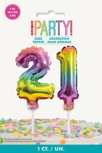 "21st BIRTHDAY CAKE DECORATION 5"" RAINBOW CAKE TOPPER NUMBER 21 RAINBOW BALLOONS"