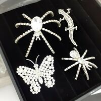 Job Lot 4 Animal Diamante Statement Vintage Brooches Spider Lizard Butterfly