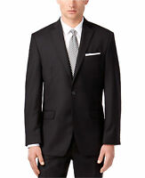 Calvin Klein Men's Modern Slim Fit 2 Piece 2 Button Suit 100% Wool Solid Black