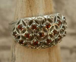 Exquisite Tudor Styled Garnet Silver Ring Size O