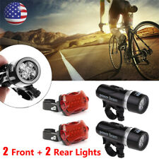 Waterproof 5 LED Lamp Bicycle Bike Front Head Light+Rear Safety Flashlight 2 Set