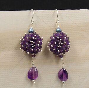 Amethyst Beads Drop Dangle Handmade Earring Solid 925 Sterling Silver Jewelry