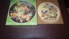2 x Jigsaws.....500 Pieces...Circular....Bowl of Fruit and Common Redstart