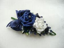 Wedding  Flower Buttonhole Navy blue & White.... PIN ON