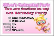 Buy birthday invitation cards for children ebay personalised girls swimming birthday party invite invites invitation cards stopboris Image collections