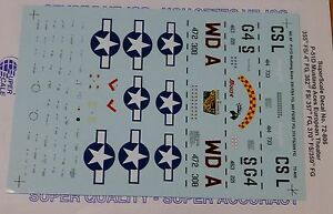 Microscale Decal 1:72 Scale #72-806 / 8th AF, P-51D Mustang Aces: 355th FS/ 4 FG