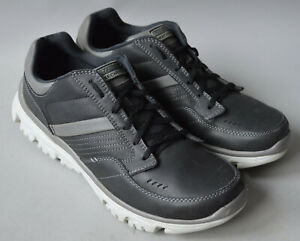 Men's Grey Skechers Lite-Fit Leather & Synthetic Casual Trainers Size Uk 8,EU 42
