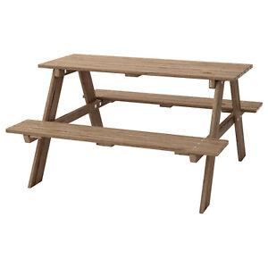 IKEA RESÖ Picknicktisch für Kinder, Gartentisch für Kinder graubraun NEU !