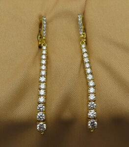 Judith Ripka Sterling Silver Pierced Earrings CZ Crystal Gold Wash Signed 845a