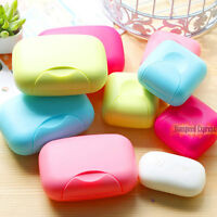 Plastic Soap Holder Dish Container Storage Case Bathroom Outdoor Travel with Lid