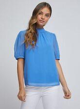Dorothy Perkins Womens Billie & Blossom Petite Blue Puff Sleeve Shell Top Blouse