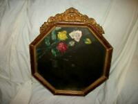 ANTIQUE OCTAGON BARBOLA PICTURE FRAME GILT FAUX GRAIN DISTRESSED ROSES MIRROR