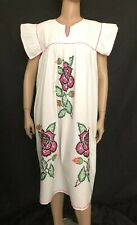 Vintage Hand Embroidered Mexican dress Cross Stitched Tunic Festival Dress BOHO