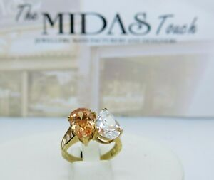 9ct Yellow Gold White & Champagne Pear-cut CZ Ring Size P 375 Cz Shoulders