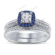 Over Sapphire Bridal Engagement Ring Set Princess & Round-Cut Diamond White Gold