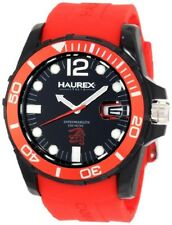 Haurex Italy Men's N1354UNR Caimano Luminous Black Dial Red Rubber Date Watch