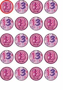 20 13th birthday rice paper edible cup cake toppers,