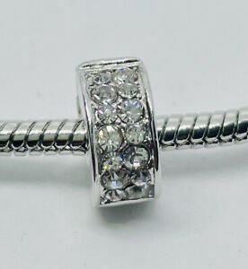 CLEAR JEWELLED European Clip Charm & Gift Pouch - Silver Tone - Spacer Band