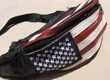 Leather waist pack fanny hip bag red white blue US flag stars and stripes NEW