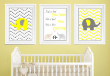 First We Had Each Other Elephant Nursery Print Set Yellow And Grey Baby Room Art
