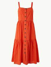 M&S Collection Orange Midi Slip Button Detailed Dress Size 16 Summer Occasion Ho