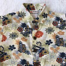 Kids DisneyBoys Shirt S Pirates Skull Tiki Mickey Mouse Pluto Hawaiian Floral