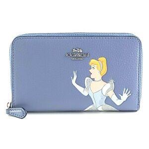 NWT Coach C2895 Disney X Medium Id Zip Wallet With Cinderella Periwinkle Multi