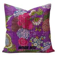 "Indian 16"" Kantha Cushion Cover Purple Pillow Case Sofa Pouf Cushion Boho Decor"