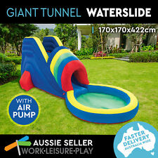 Inflatable Water Slide with Pool Splash Giant Tunnel Soaker Air Pump Summer Fun