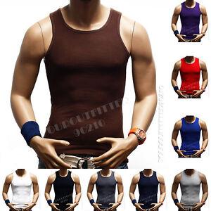3  Big &Tall 100% Cotton Men's A-Shirt GYM T-Shirt Ribbed Muscle Tank Top 3X-5X