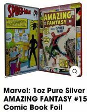2018 MARVEL COMIC, AMAZING FANTASY #15 SILVER FOIL 1 OZ .999 Spider Man.