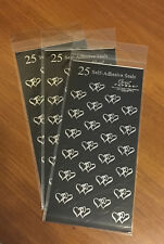 75 GREAT PAPERS  SILVER HEART WEDDING INVITATION GLOSSY STICKER LABELS BLACK