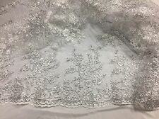 Antique Flower Design Mesh Lace Fabric Bridal Wedding White. Sold By The Yard