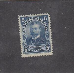 NEWFOUNDLAND (MK5398) # 85  FVF-MH  5cts  1899  DUKE OF YORK /BLUE  CAT VAL $65