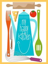 My Happy Kitchen, Retro metal Sign/Plaque Wall vintage / Kitchen Gift