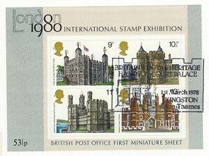 (67654) GB Used Histroric Royal Palaces minisheet 1978 ON PIECE