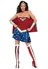 ADULT WONDER WOMAN COSTUME SIZE SMALL (missing boot tops and bracelets)