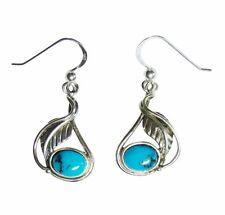 Earrings Indian Jewelery 2 Turquoise 925 Sterling Silver Handmade