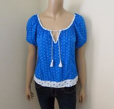 Hollister Womens Peasant Polka Dot Floral Top Shirt Size XS Blouse Blue