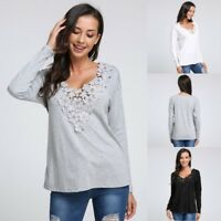 Autumn Womens Plus Size Blouse Ladies Lace V Neck Long Sleeve Top Casual T Shirt