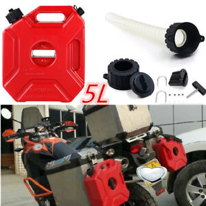 Red 5L Plastic Gas Diesel Spare Jerry Can ATV Motorcycle Fuel Tank Water Bucket