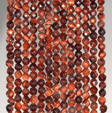 4MM RED TIGER EYE GEMSTONE FACETED ROUND LOOSE BEADS 15""