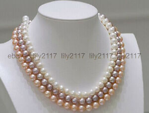 Real 3 strands 7-8mm round south sea white purple pink pearl necklace 17-19 inch