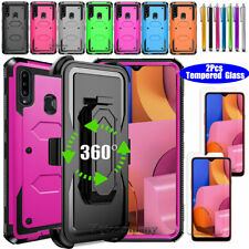 For Samsung Galaxy A10e A20 A20s A50 70 A01 Case Stand Hard Cover+Tempered Glass