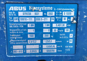 Kettenzug ABUS 1,0 t   2,0 t   2Tonnen Typ GM5